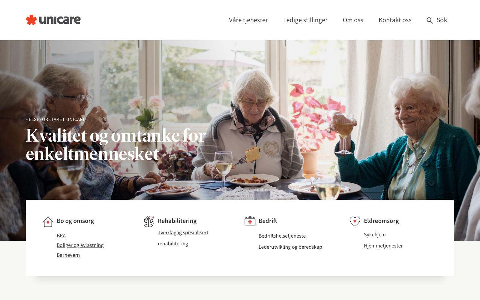 Kvalitet og omtanke på Unicares nye nettside
